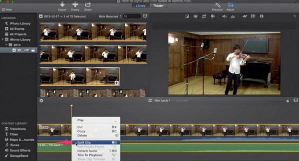 Passo 2 cortar áudio iMovie