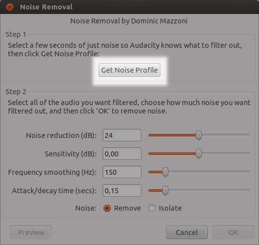Passo 3 redução ruído Audacity