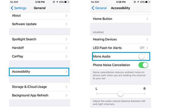 Passo 4 habilitar acessibilidade audio mono