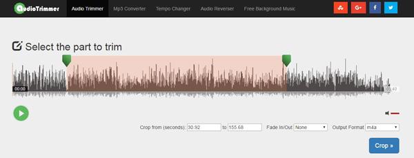Seleccione la parte de audio