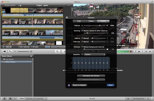 Transiciones de audio entrada y salida en iMovie