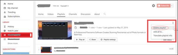 Borrar Lista de reproducción de YouTube