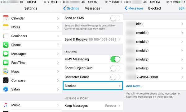 como bloquear SMS