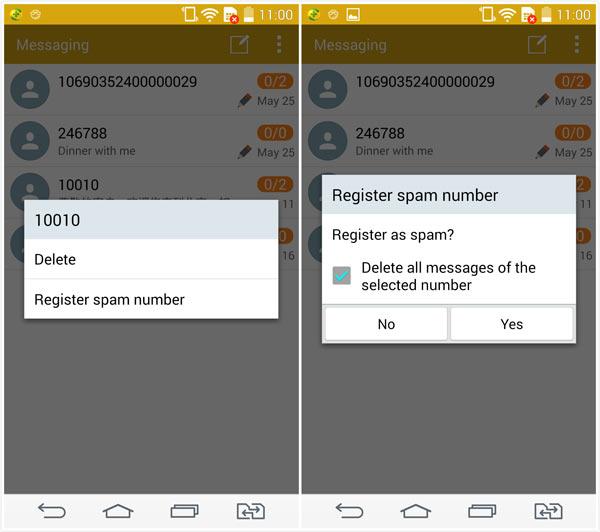 Função spam mensagens Android