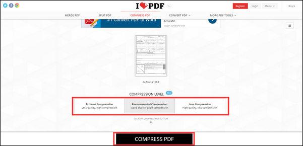 passo 2 comprimir tamanho dos arquivos online