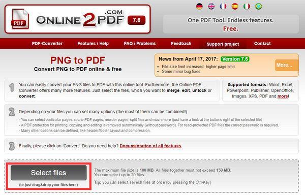Seleccione los archivos PNG
