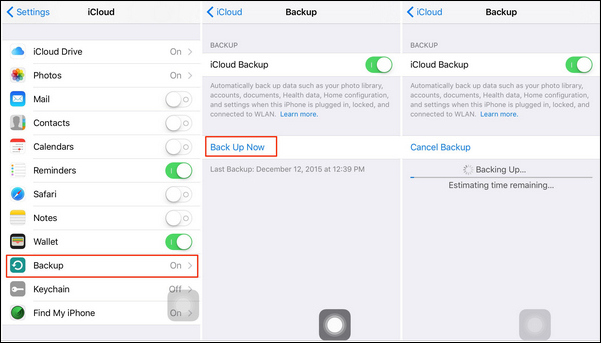 backup no iphone com icloud