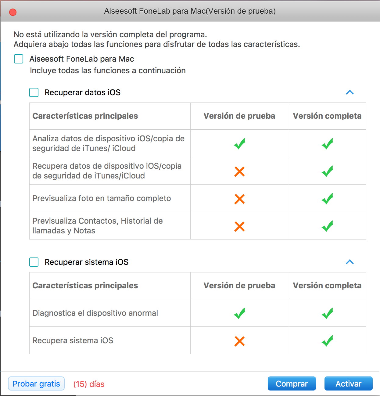 Pantalla de inicio de FoneLab System Repair para Mac