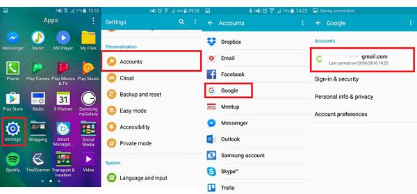 passo 1 backup android para google