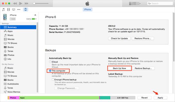 passo 2 transferir notas entre iphones pelo itunes
