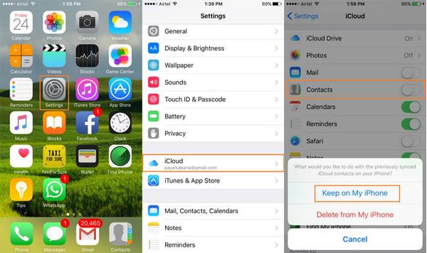 passo 3 juntar contatos iphone com icloud