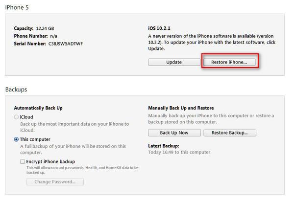 passo 3 redefinir iphone bloqueado