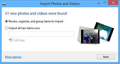 Importar fotos Windows 8