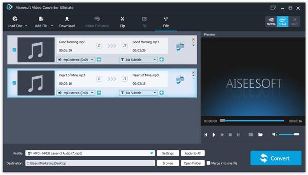 passo 2 combinar arquivos de audio com converter ultimate