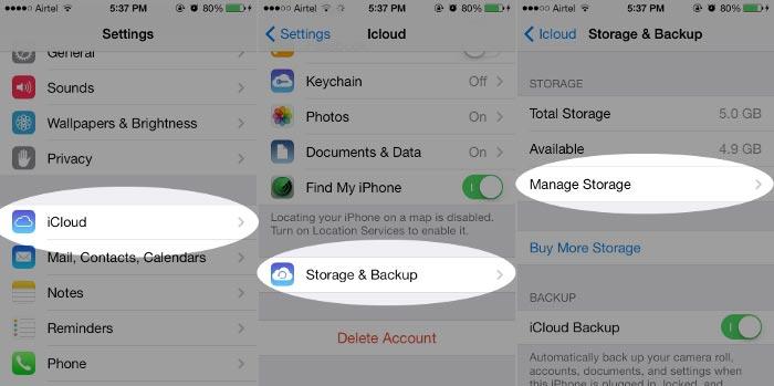 passo 2 excluir fotos backup icloud