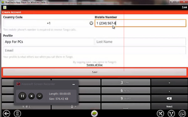 Passo 3 gravar chamada Screen Recorder