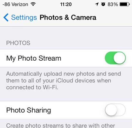 Sincronizar fotos Photo Stream