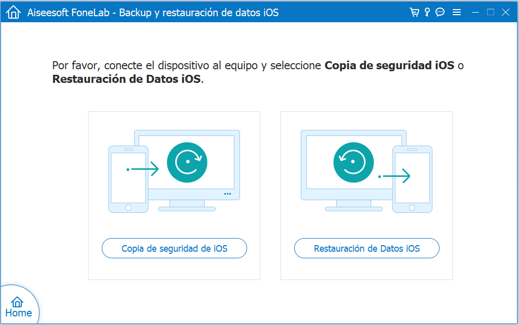 Elección entre crear copia de seguridad o restaurarla