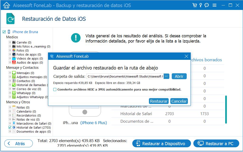 Ruta de guardado de archivos restaurados desde la copia en PC
