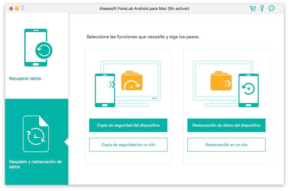 Pantalla de inicio de Aiseesoft FoneLab Android Backup & Restore para Mac