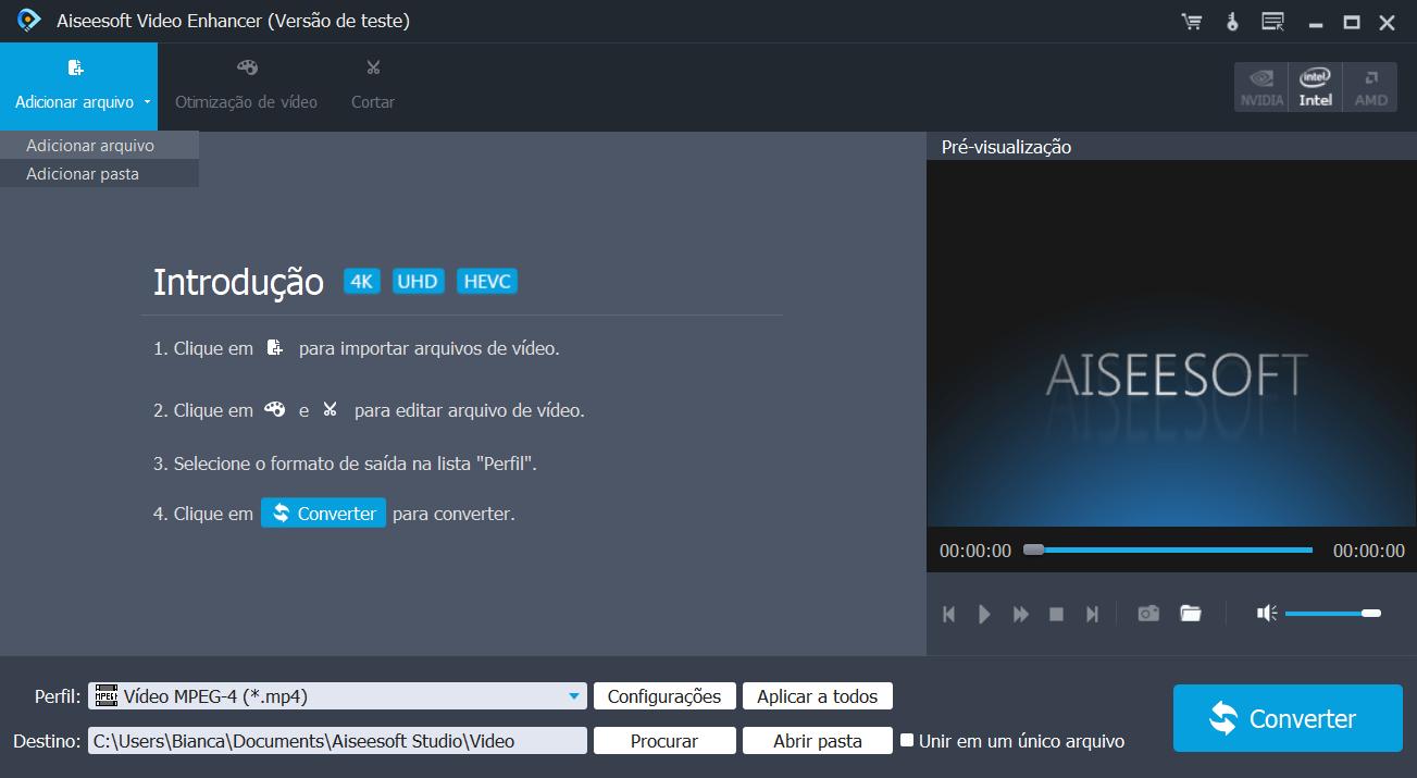 aiseesoft video enhancer adicionar arquivos