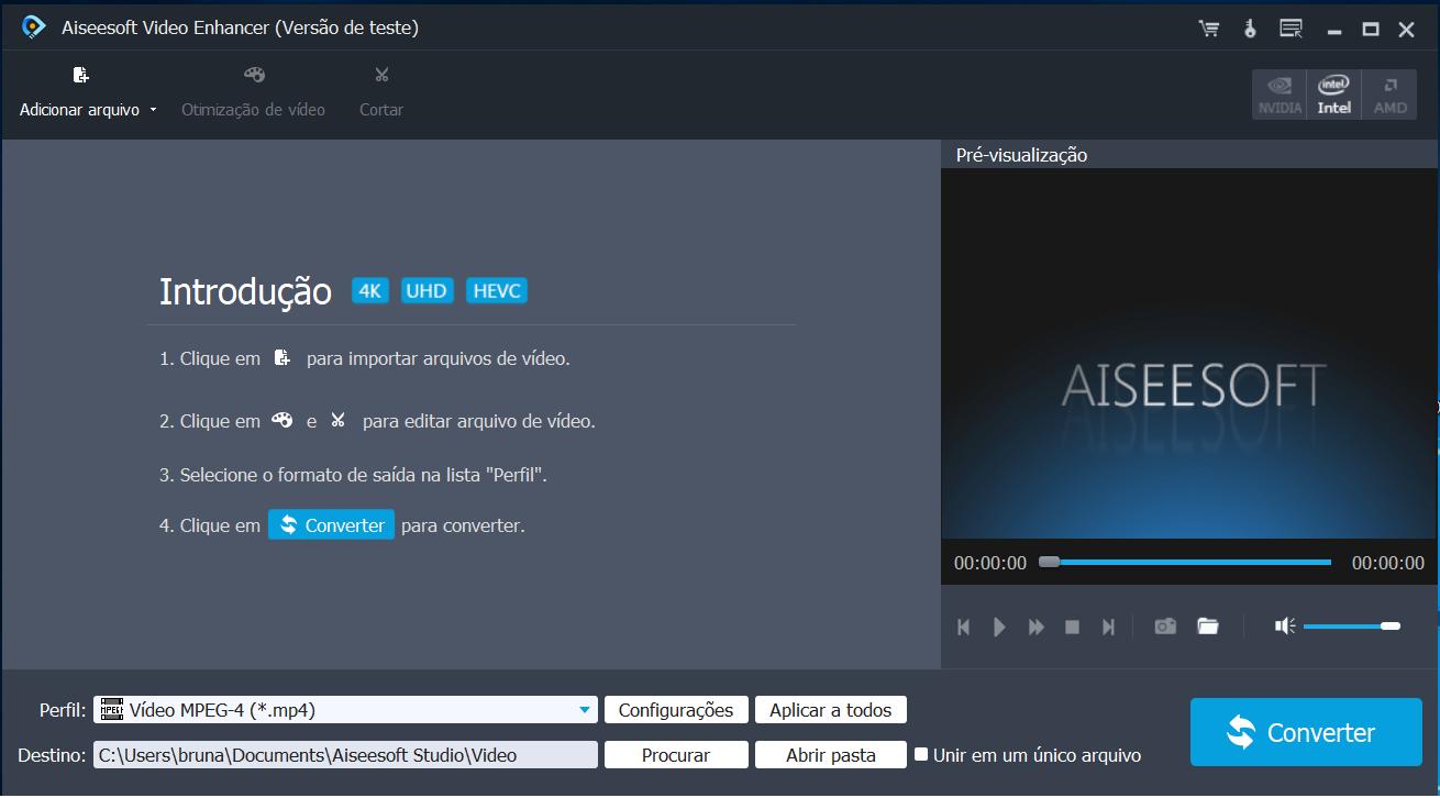 aiseesoft video enhancer tela inicial