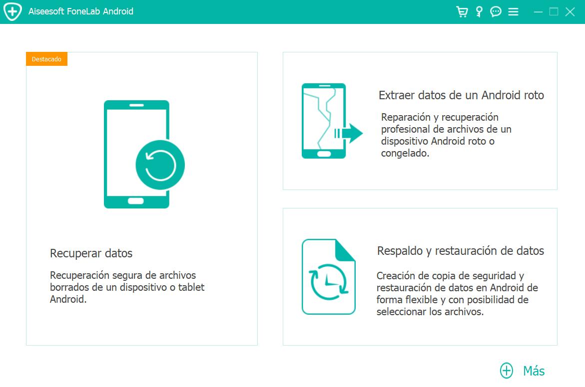 Pantalla de inicio de Aiseesoft FoneLab Android Backup & Restore