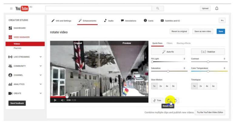 Cómo girar video en YouTube