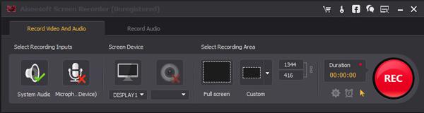 Passo 2 gravar vídeos Screen Recorder