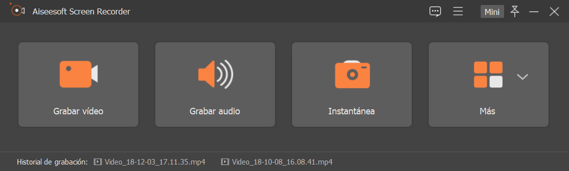 Interfaz screen recorder