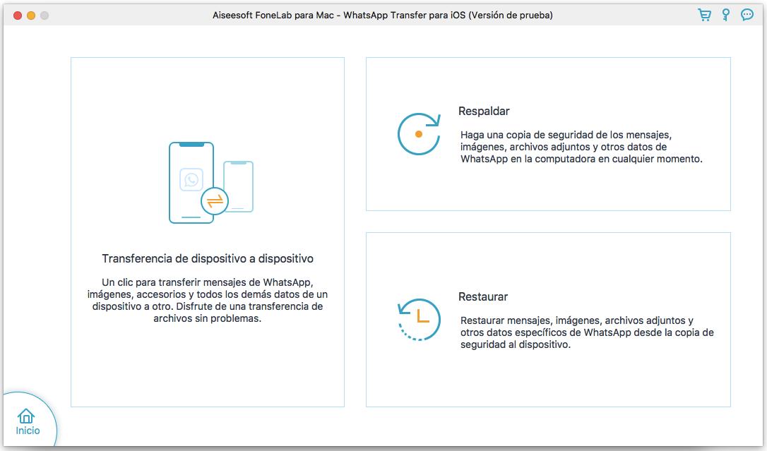 Interfaz de FoneLab WhatsApp Transfer
