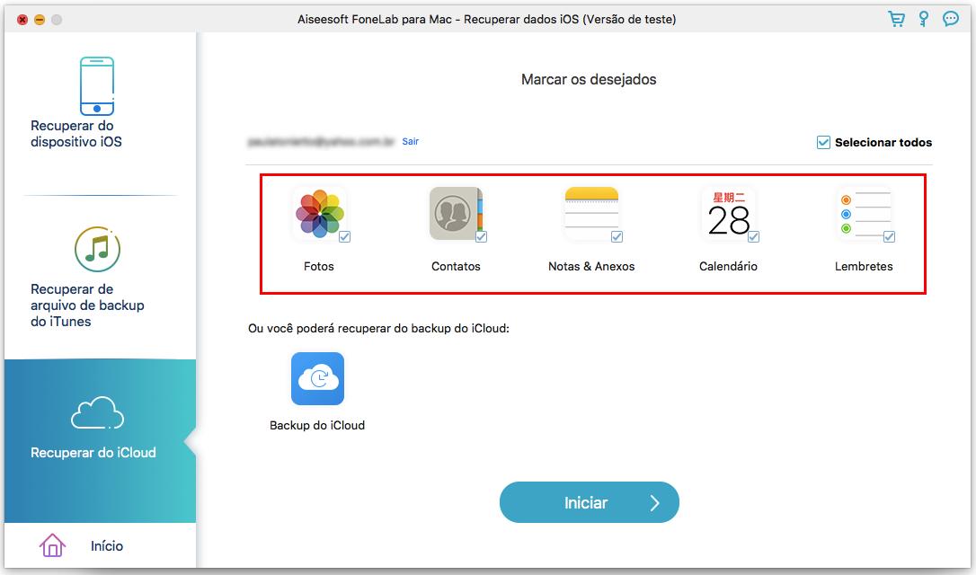 Recuperar de backup de iCloud